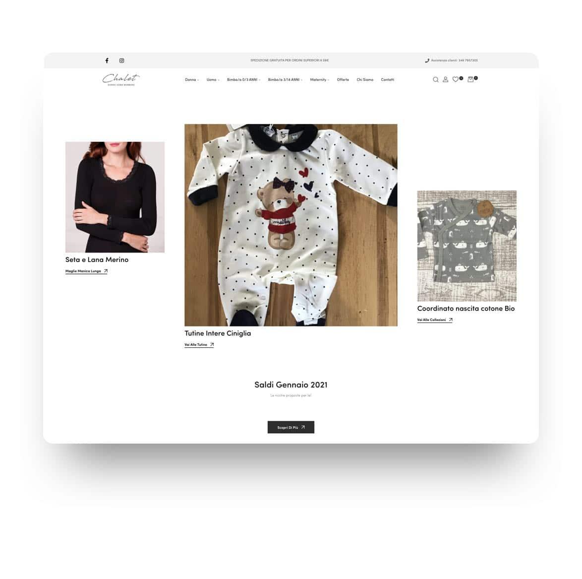 Chalet Shop Ecommerce Intimo e abbigliamento