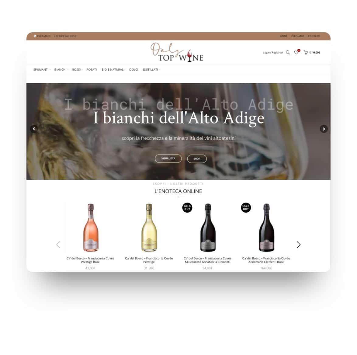 Only Top Wine - Realizzazione Ecommerce vendita vino